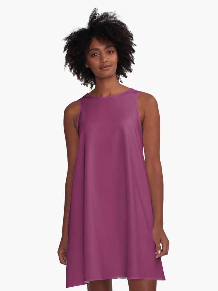 SOLID |PLAIN | DARK RASPBERRY |PINK HUES A-Line Dress Front