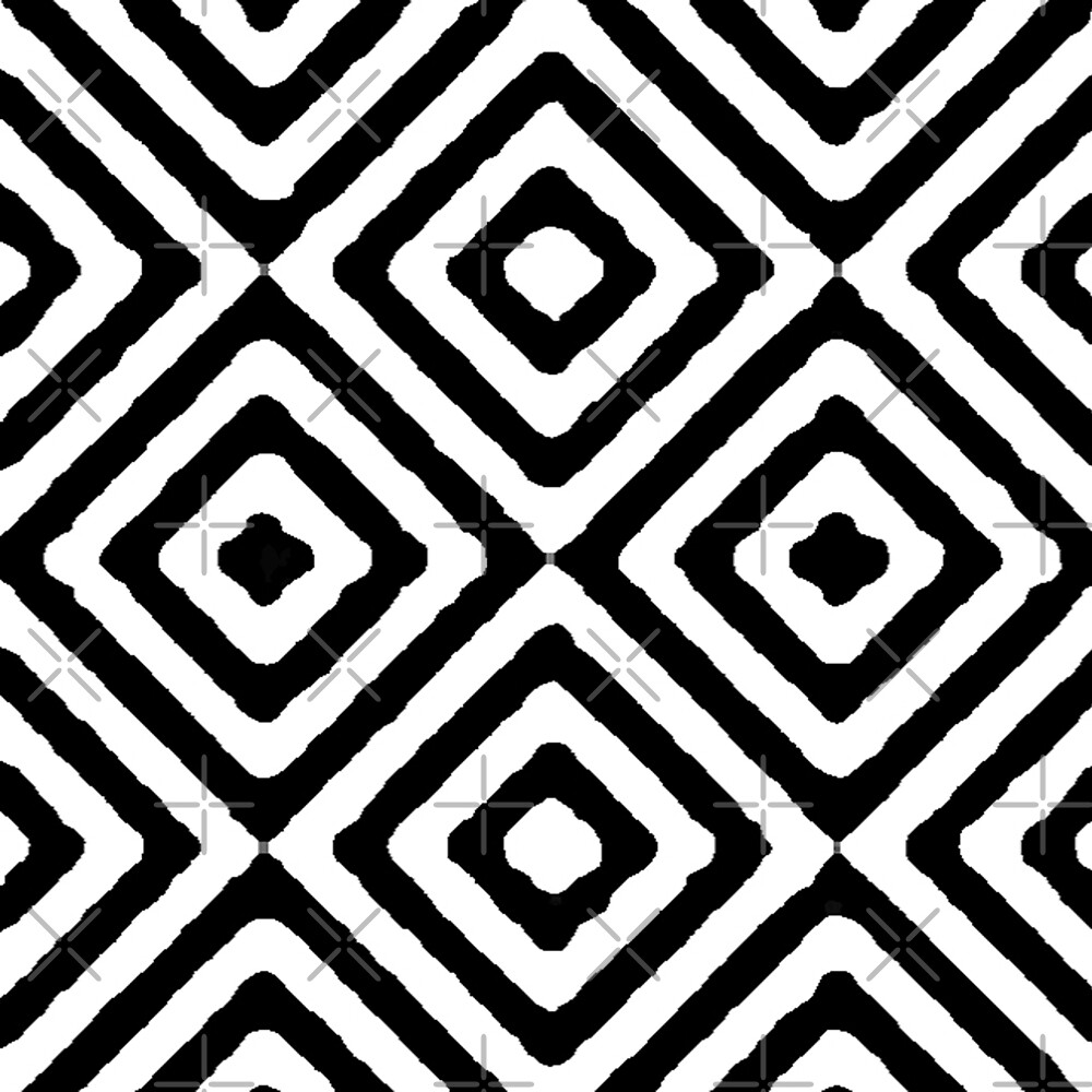 BLACK AND WHITE GEOMETRIC DIAMONDS PATTERN BY OZCUSHIONSTOO by ozcushionstoo