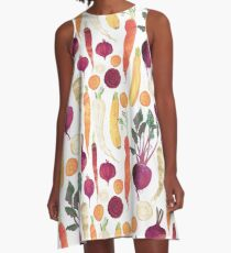 Autumn Vegetables Pattern on White background A-Line Dress