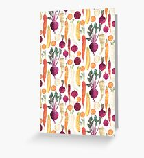 Autumn Vegetables Pattern on White background Greeting Card