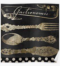 Bistro Parisienne Gastronomie Gold Poster