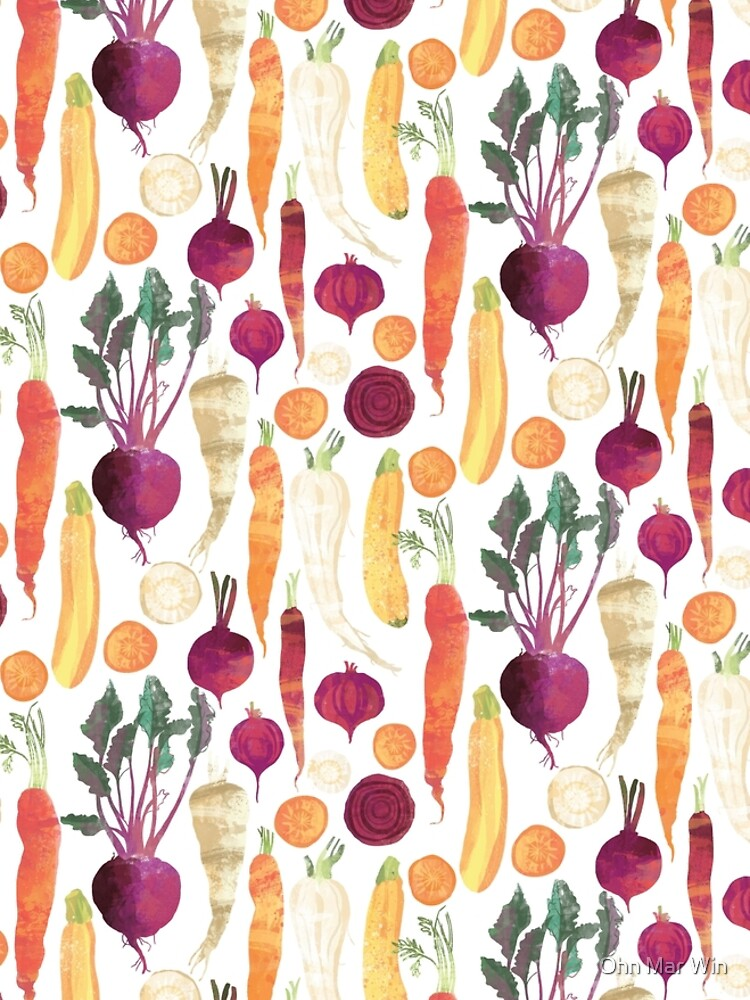 Autumn Vegetables Pattern on White background by ohnmarwin