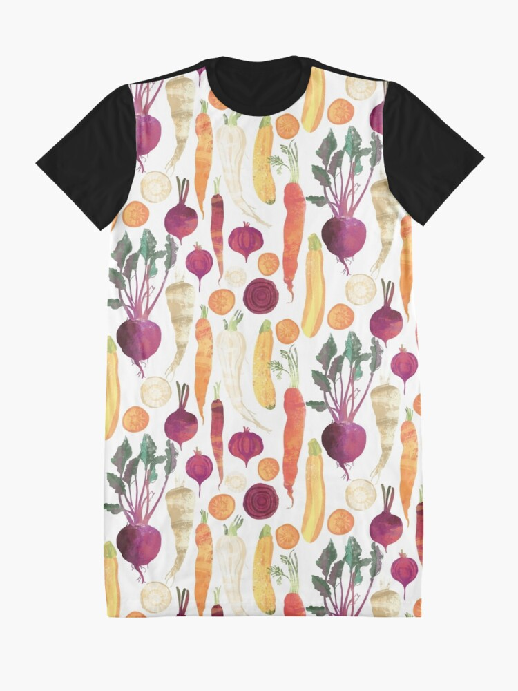 Alternate view of Autumn Vegetables Pattern on White background Graphic T-Shirt Dress