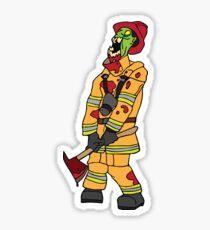 Zombie Fireman Sticker