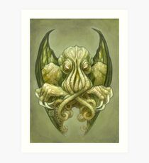 Cthulhu Dreaming, in non-Euclidean green Art Print