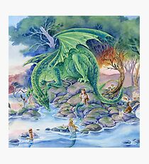 Of Air and Sea - Dragon and Mermaids fantasy art Photographic Print