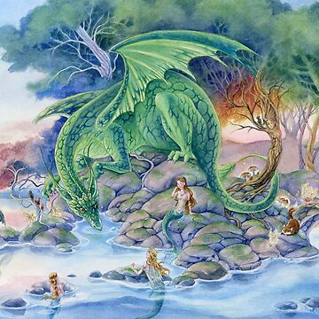 Of Air and Sea - Dragon and Mermaids fantasy art by meredithdillman