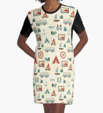 Einfaches abstraktes nahtloses touristisches Muster T-Shirt Kleid