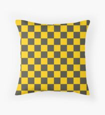 Yellow Checkers - Chess - Racing Flag Throw Pillow