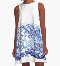 Blue dragon azulejo indigo ceramic tile A-Line Dress
