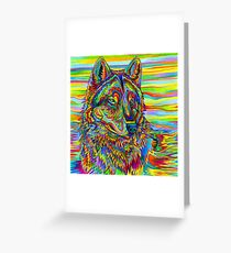 Colorful Psychedelic Rainbow Wolf Greeting Card