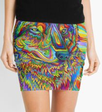 Colorful Psychedelic Rainbow Wolf Mini Skirt