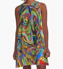 Bunter psychedelischer Regenbogen-Wolf A-Linien Kleid