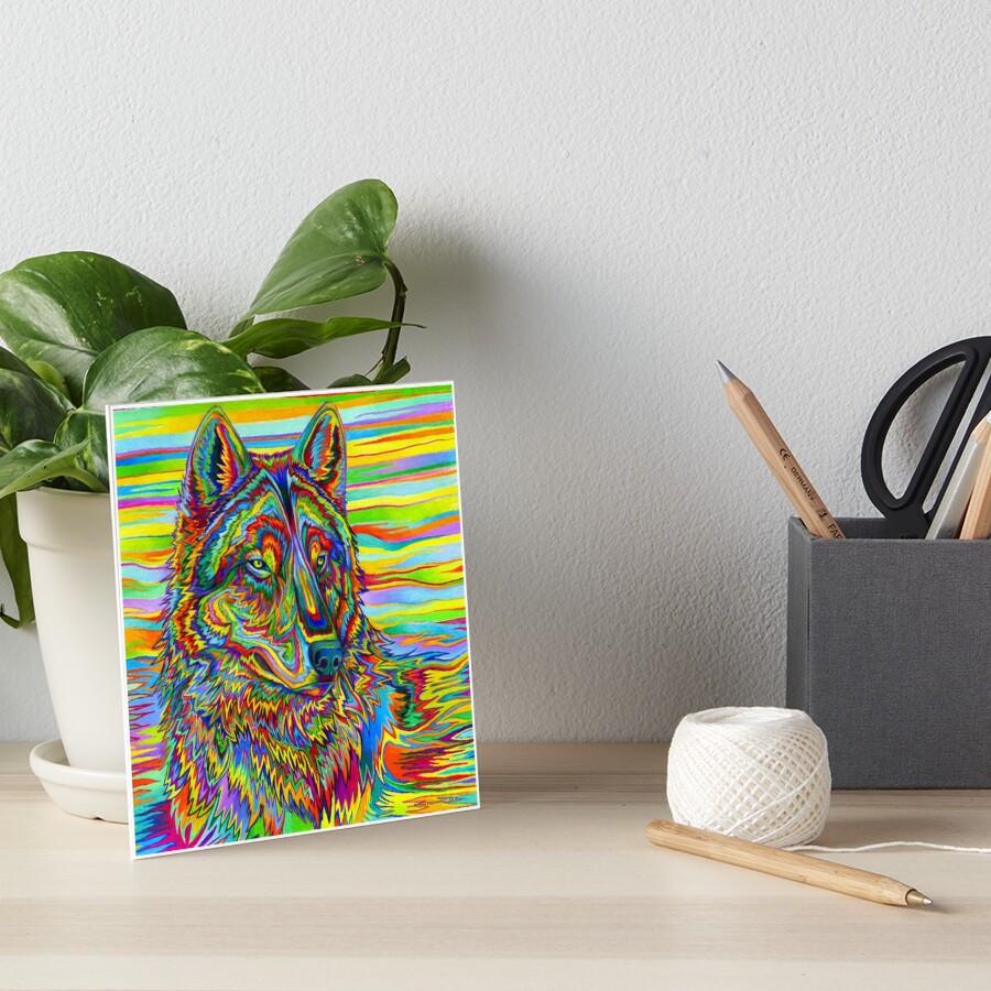 Colorido Psychedelic Rainbow Wolf Lámina rígida