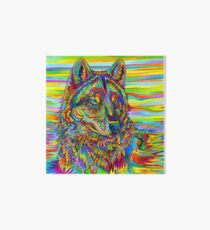 Colorful Psychedelic Rainbow Wolf Art Board