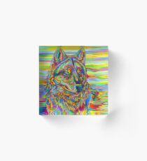 Colorful Psychedelic Rainbow Wolf Acrylic Block