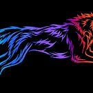 Colorful Tribal Abstract Running Wolf by Rebecca Wang