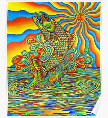 Psychedelic Rainbow Trout Fish Poster