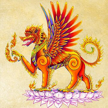 Singha - Mythical Winged Lion Thai Temple Guardian by lioncrusher