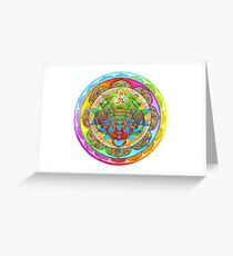 Inner Strength Psychedelic Tiger Sri Yantra Mandala Greeting Card