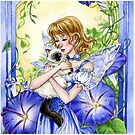 Blue Morning Glory flower fairy and Cat by meredithdillman