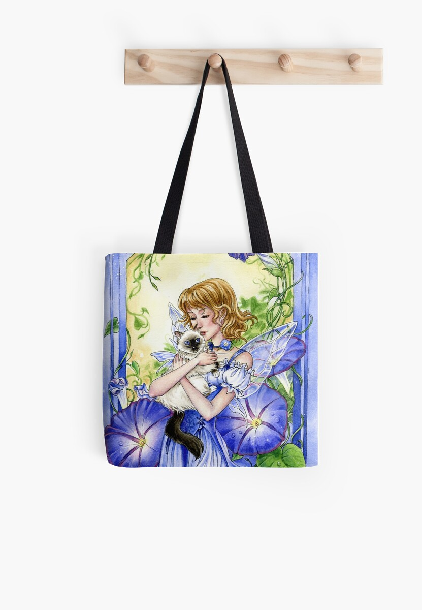 Blue Morning Glory flower fairy and Cat by Meredith Dillman