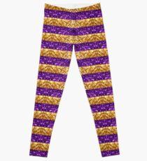 Purple and Gold Glitter Stripes Baton Rouge New Orleans Nola Louisiana Los Angeles California  Leggings