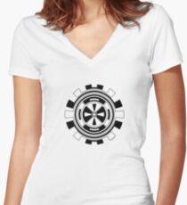 Mandala 11 Back In Black Women's Fitted V-Neck T-Shirt