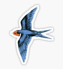 Swallows in Blue on Stormy Grey Sticker