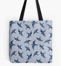Swallows in Blue on Stormy Grey Tote Bag