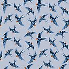 Swallows in Blue on Stormy Grey by ThistleandFox