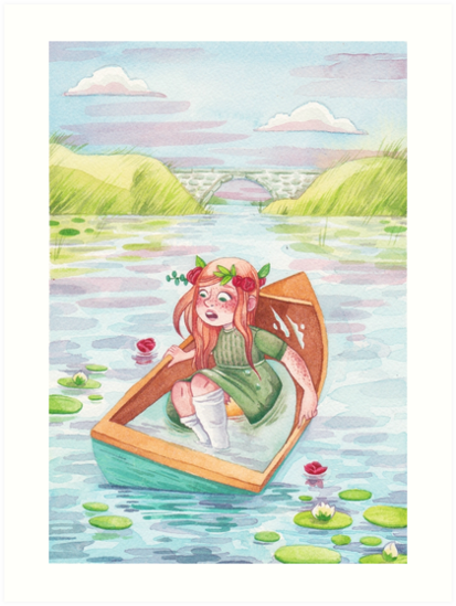 """Anne of Green Gable's Lady of Shalott in leaky boat"" Art ..."