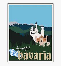 Beautiful Bavaria Vintage Travel Poster - Neuschwanstein Castle Photographic Print