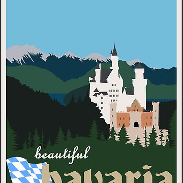 Beautiful Bavaria Vintage Travel Poster - Neuschwanstein Castle by axialdesigns