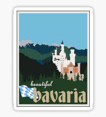 Beautiful Bavaria Vintage Travel Poster - Neuschwanstein Castle Sticker