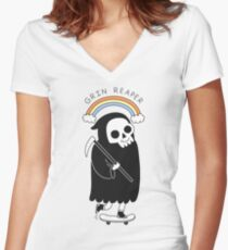 Grin Reaper Women's Fitted V-Neck T-Shirt