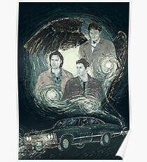 Supernatural: Sam, Dean, Castiel and the Impala Poster