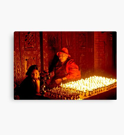 Vendors outside Boudhnath Stupa Canvas Print