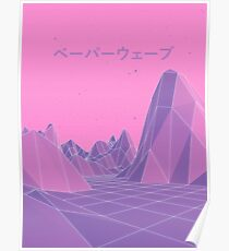 80s Vaporwave Retro Pink Poster