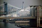 Manhattan & Brooklyn Bridge's > by John Schneider
