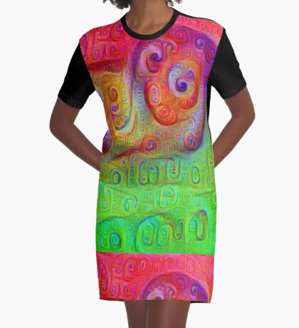 DeepDream Red to Green 5K Graphic T-Shirt Dress