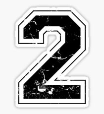 Number 2 Two  Black  Jersey Sports Athletic Player Sticker