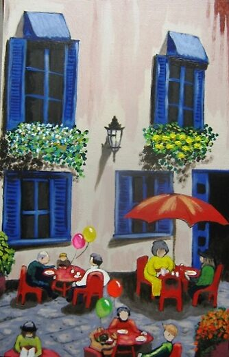 Sidewalk Cafe by Louise Henning
