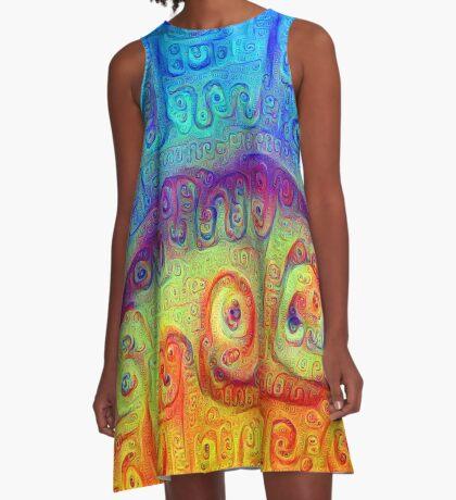 DeepDream Blue to Orange 5K A-Line Dress