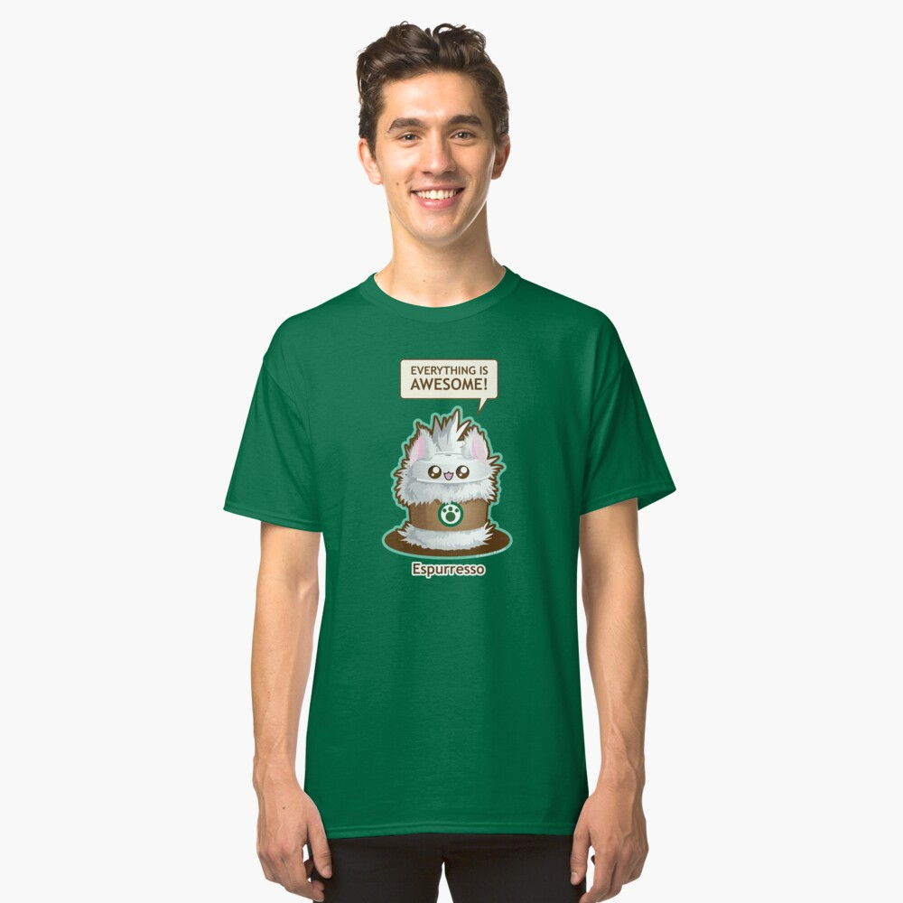 Cute Kitty Espresso Coffee Classic T-Shirt Front