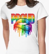 proud Rainbow Lips Pride Women's Fitted T-Shirt