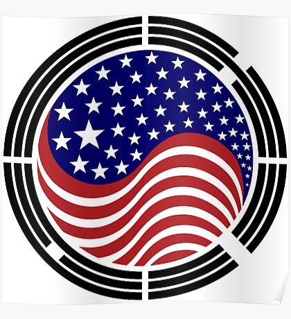 Korean American Multinational Patriot Flag Series Poster