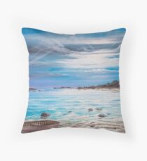 Row Boat and Lighthouse Ocean Scene, original painting by Vicki Alder Throw Pillow