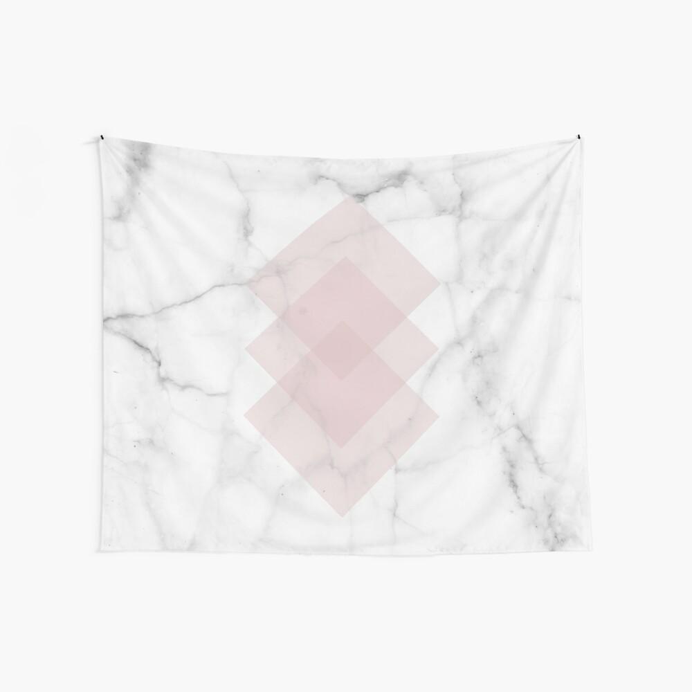 White Marble Scandinavian Geometric Blush Pink Squares Wall Tapestry