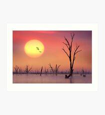 0675 Setting Sun - Lake Mulwala Art Print